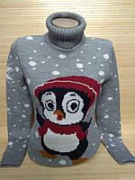 Женский новогодний свитер с пингвиненком р. 44-48 Турция, фото 1