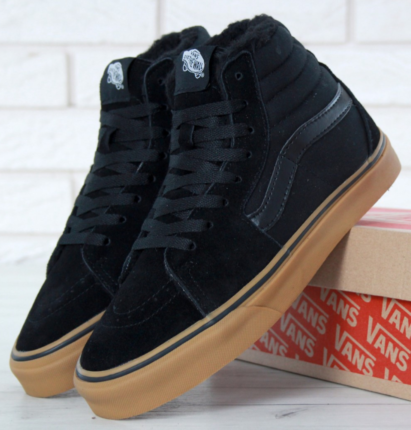 Зимние кеды Vans Old Skool Sk8-Hi Canvas Black с мехом, Ванс Олд Скул зима