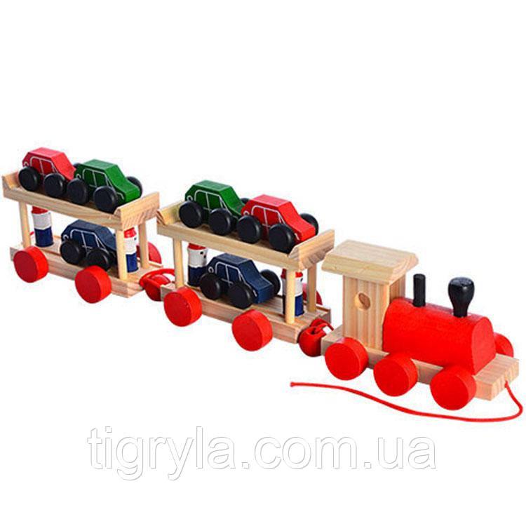 Паровозик Трейлер с машинками деревянная игрушка