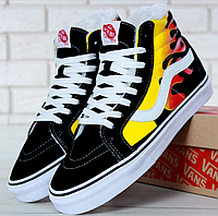 Зимние кеды Vans Old Skool high Sk8-Hi Canvas Fire Black с мехом 6890c68a3c919