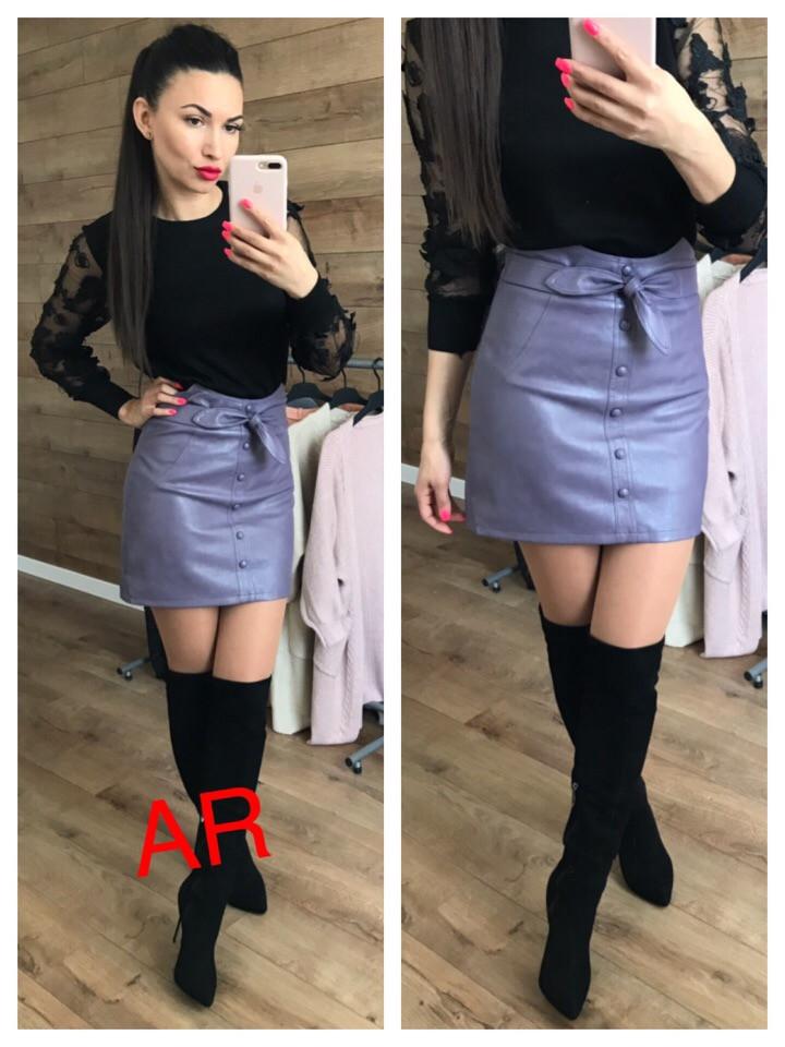 Женская мини-юбка из экокожи 42-46 р