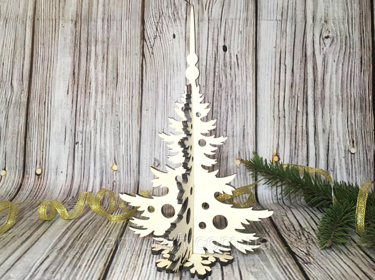 Деревянная ёлочка 16,6х11 см (№2) Светлое дерево