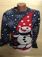 Женский новогодний свитер веселый снеговик р. 44-48 Турция