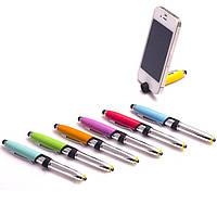 Ручка шариковая подставка для смартфона со стилусом + фонарик D010-16