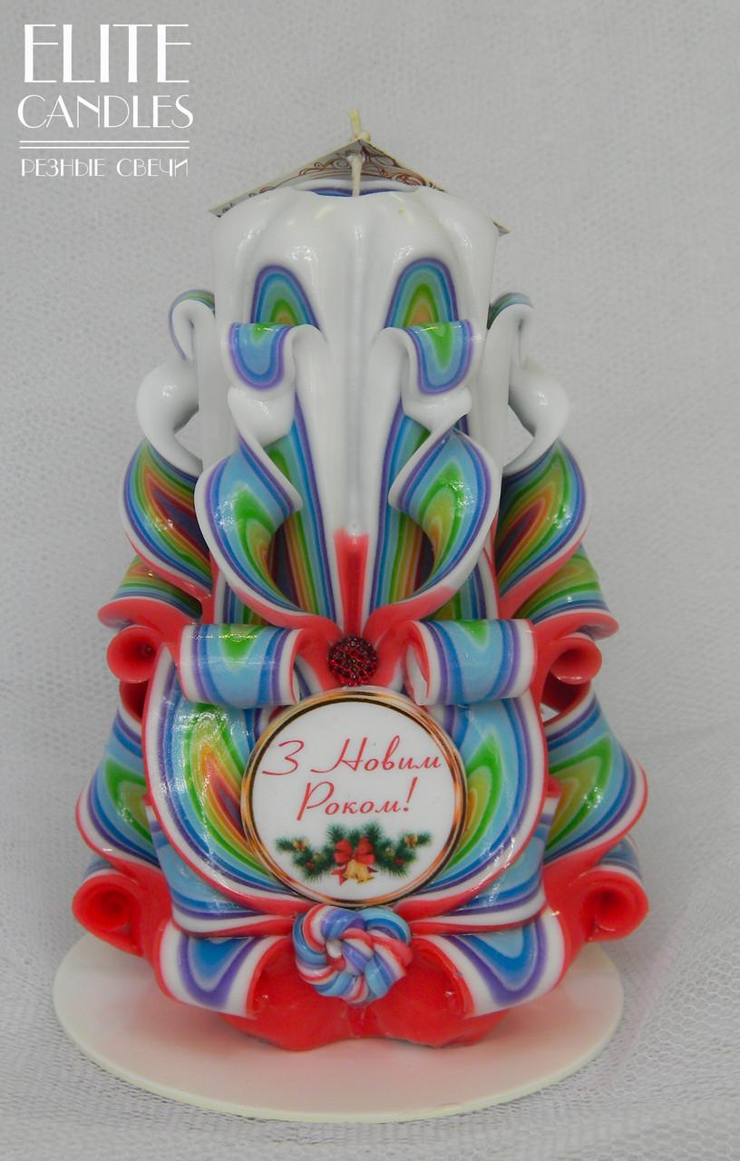 Резная свеча с надписью, ручной работы, в новогоднем стиле
