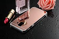Чехол Samsung J810 / J8 2018 силикон зеркальный розовое золото