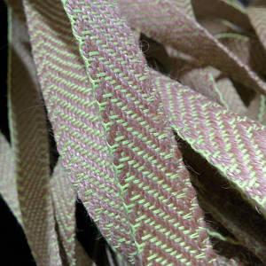Декоративная лента (джутовая), 10 мм, S-узор. Салатовый