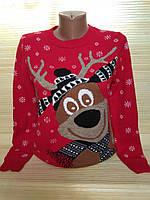 Новогодний теплый свитер с веселым оленем р. 44-48 Турция