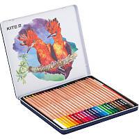 """Карандаши цветные акварельные """"Kite"""" 24 цвета металлический пенал K18-1053 (4251458724628)"""