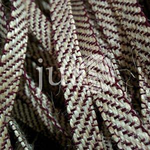 Декоративная лента (джутовая), 10 мм, X-узор. Украина, Бордовый