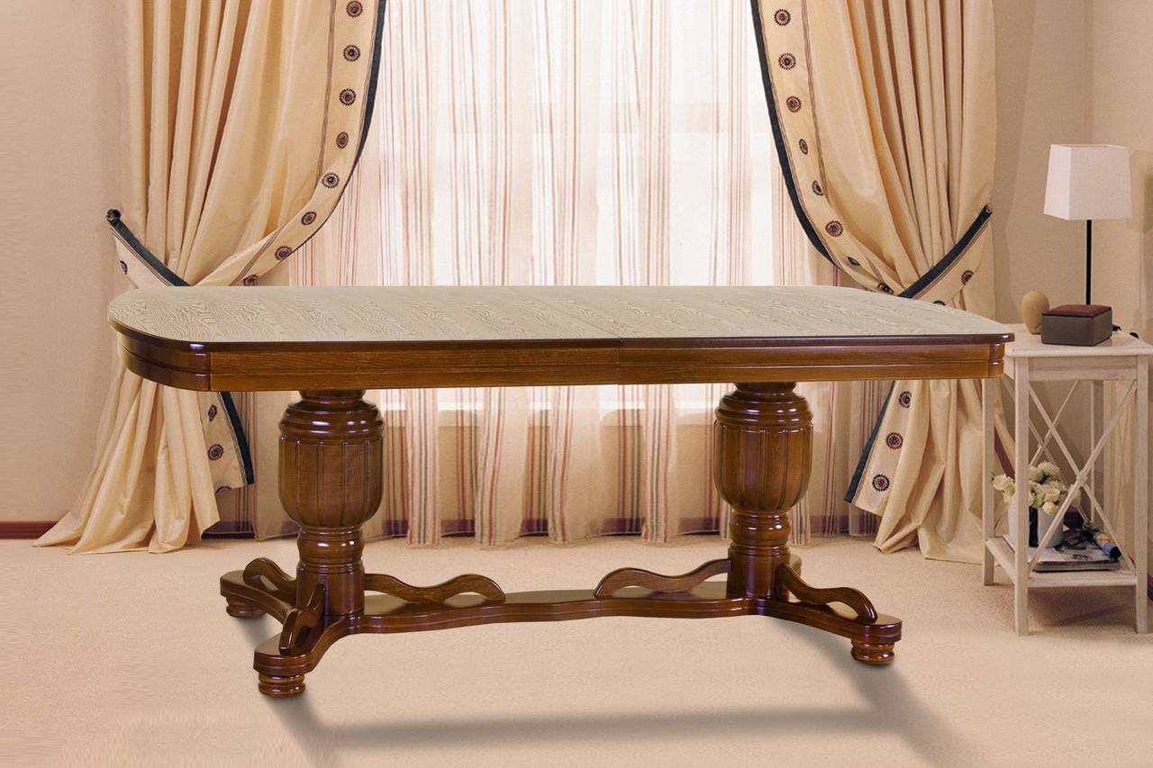 Стол обеденный с масива дерева- Барон (цвет - орех)
