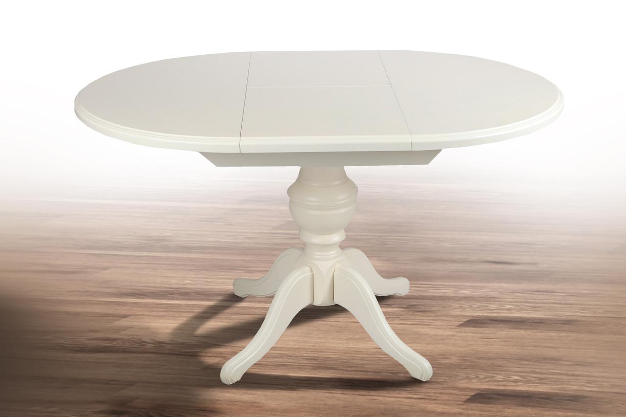 Круглий стіл, дерев'яний, розсувний - Гермес (колір - ваніль,білий)