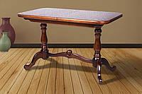 Деревянный обеденный стол -ДУЭТ, раздвижной (цвет -орех)