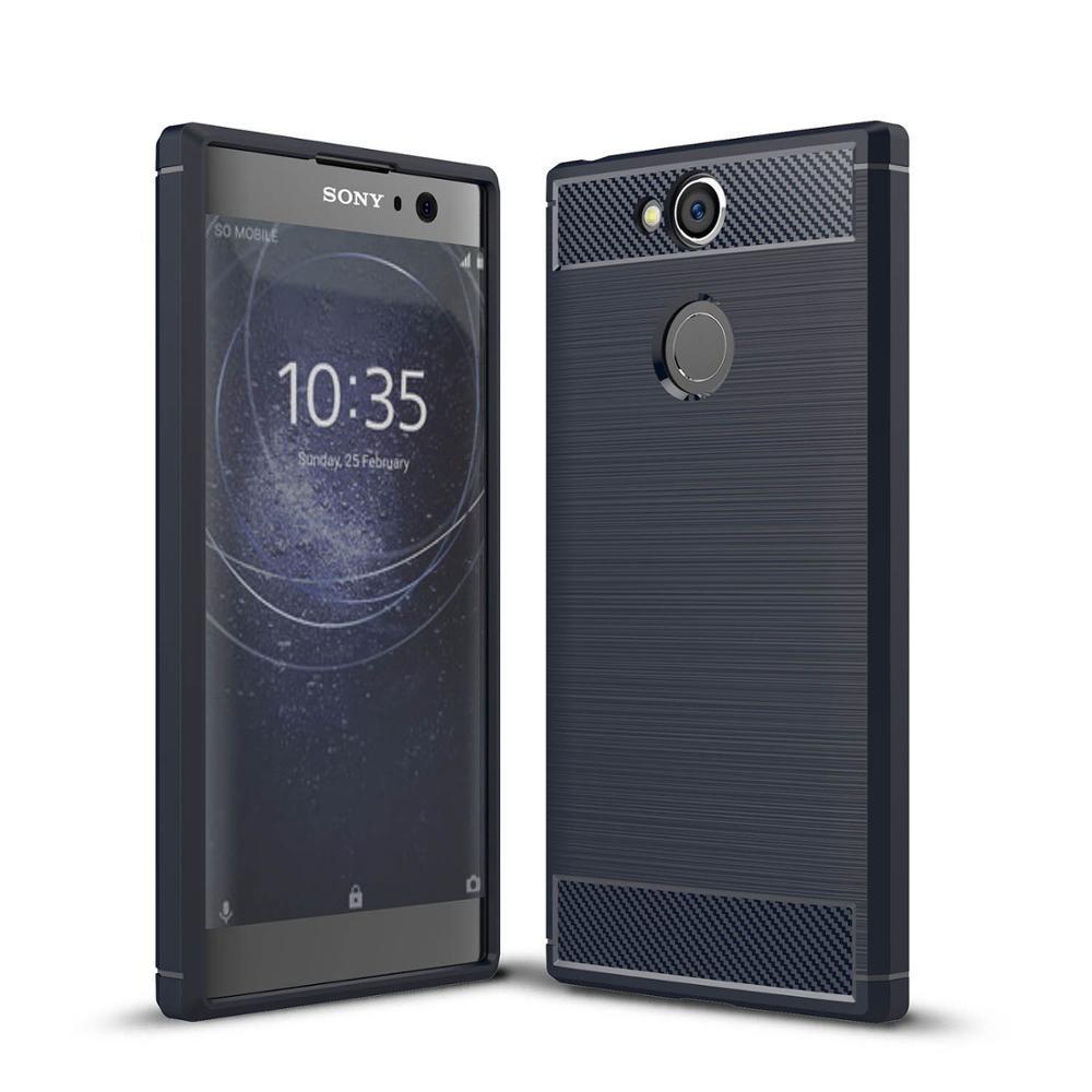 Чехол Carbon для Sony Xperia XA2 / H4113 / H4133 / H3113 / H3123 / H3133 бампер Синий