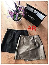 Стильная мини-юбка на молнии из экокожи 42-46 р, фото 3