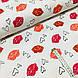 Ткань польская хлопковая, поцелуйчики малиново-красно-коралловые на белом, фото 2
