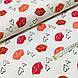 Ткань польская хлопковая, поцелуйчики малиново-красно-коралловые на белом, фото 3
