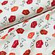 Ткань польская хлопковая, поцелуйчики малиново-красно-коралловые на белом, фото 4