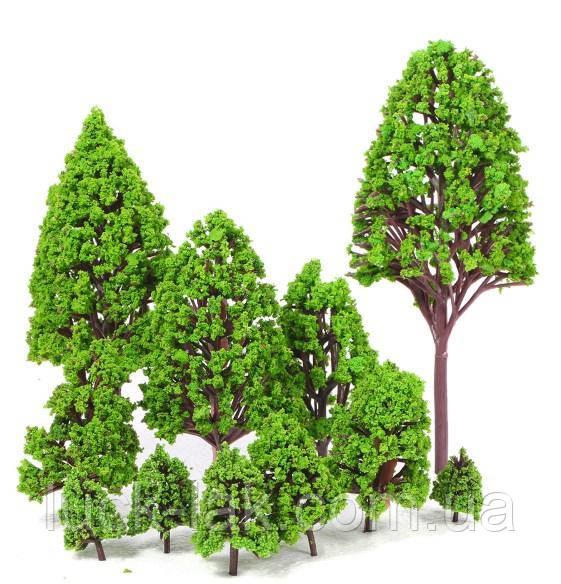 Деревья набор 12 шт, размер 2,5-16 см, для диорам, подставок, миниатюр, детского творчества