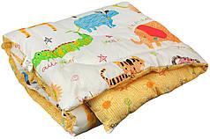 Одеяло детское зимнее в кроватку 105х140 Джунгли сатин