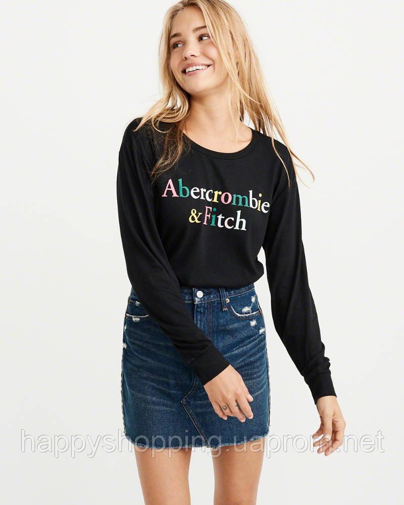 Женский черный лонгслив с логотипом  Abercrombie & Fitch
