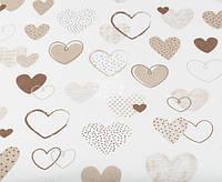 Ткань. Хлопок  сердечки песочно-коричневые на белом. Отрез 50х40см