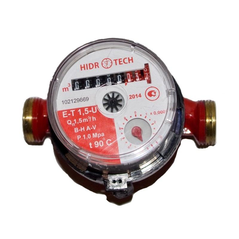 Счетчик горячей воды ГИДРОТЕК ET-1,5U (Украина) cо штуцером (110мм)