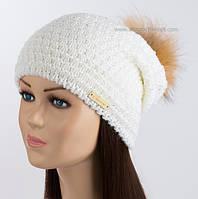 Стильная женская шапка с помпоном Lola белоснежная