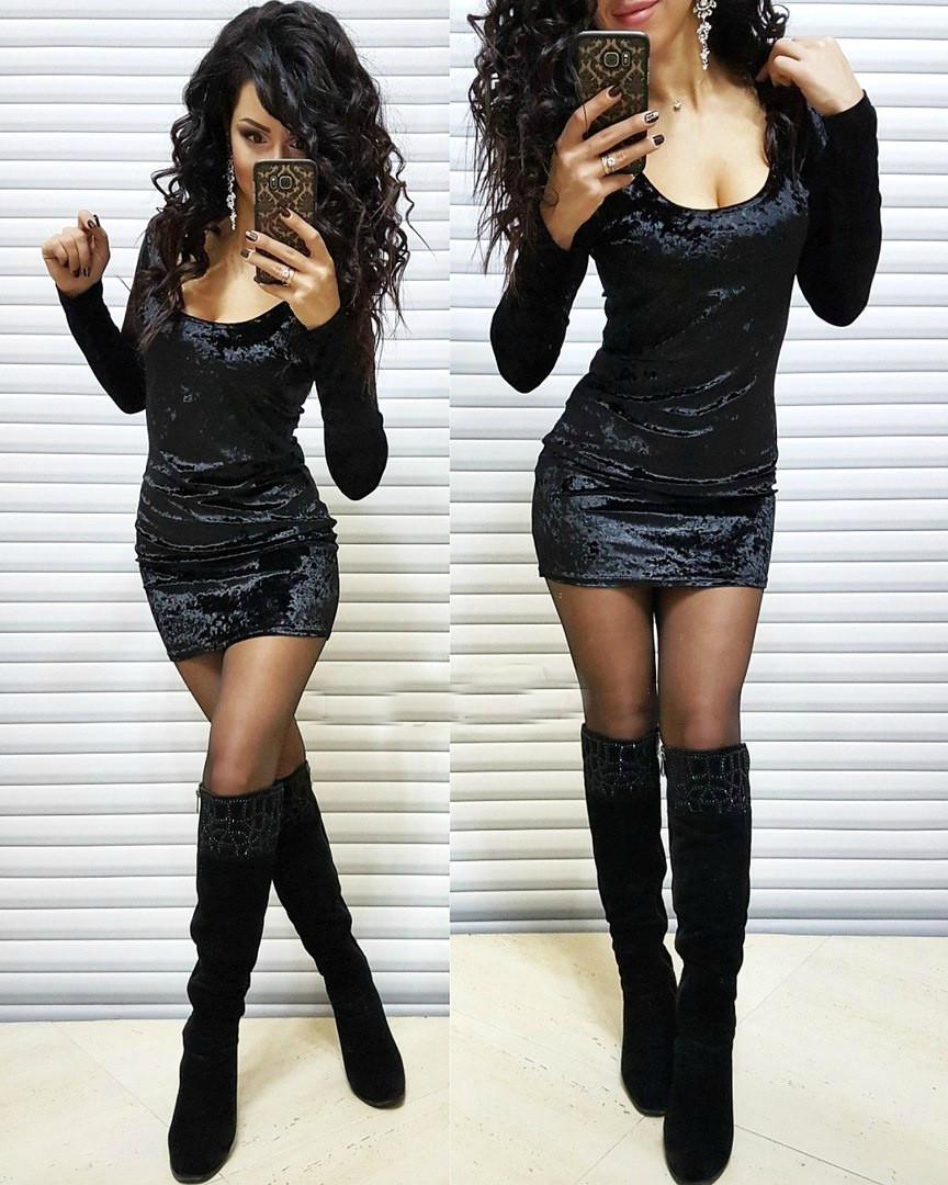 Мраморное платье из бархата Черное