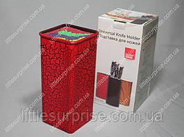 Подставка для ножей Квадратная Красная с цветным наполнителем