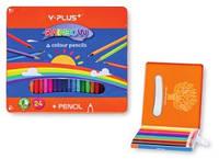 Карандаши цветные Y PLUS 24 цвета в металлической коробке (Z010) (4711678072263)