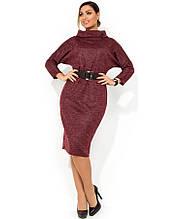 Сукня міді з ангори кольору марсала з поясом розміри від XL ПБ-100