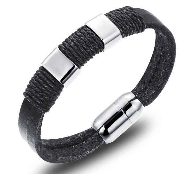 Мужской кожаный браслет Primo Style