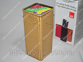 Подставка для ножей Квадратная Желтая с цветным наполнителем