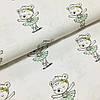 Ткань польская хлопковая, девочка-мишка в пуантах в светло-мятной юбочке на белом