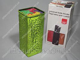 Подставка для ножей Квадратная Зеленая с цветным наполнителем
