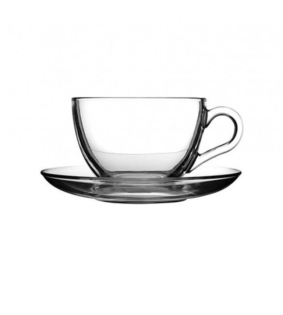 Набор стеклянных чашек 215мл с блюдцами 145мм Basic Pasabahce для чая 12 предметов