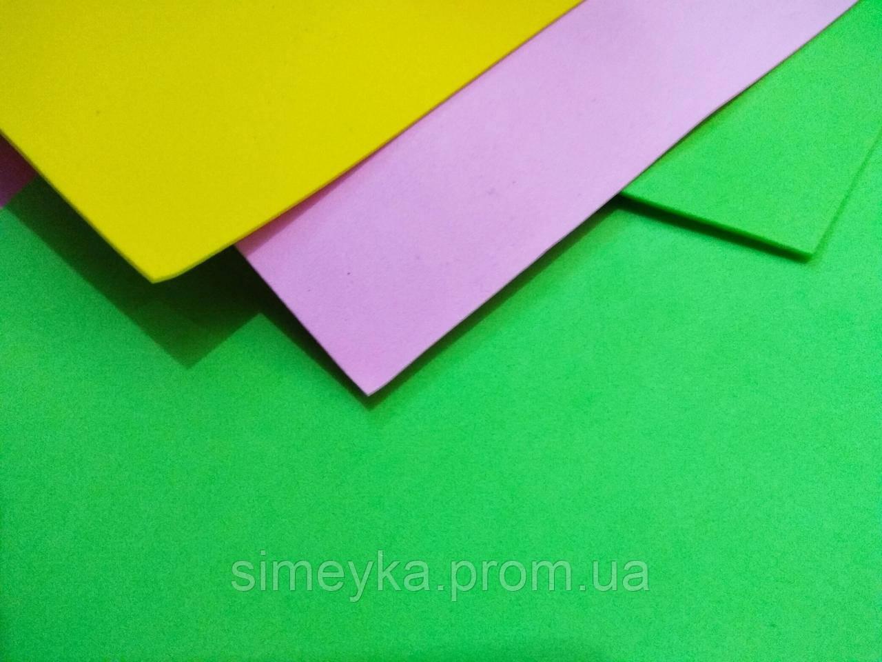 Фоамиран листовой, упаковка 3 листа 60*40 см разного цвета, толщина 1 мм