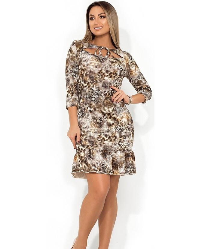 38fd4293eb2 Красивое платье миди с вырезом и завязками на декольте и воланом на юбке  размеры от XL