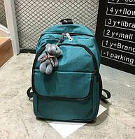 Рюкзак женский городской Lila с мишкой Зеленый, фото 1