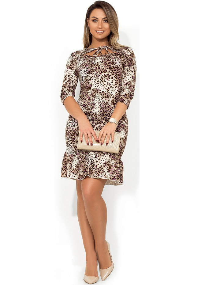 59ab14cb29b Платье миди с вырезом и завязками на декольте и воланом на юбке размеры от  XL ПБ