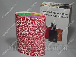 Подставка для ножей Овальная Красная с цветным наполнителем