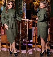 НП03884 Женское вязаное платье  батал , фото 1