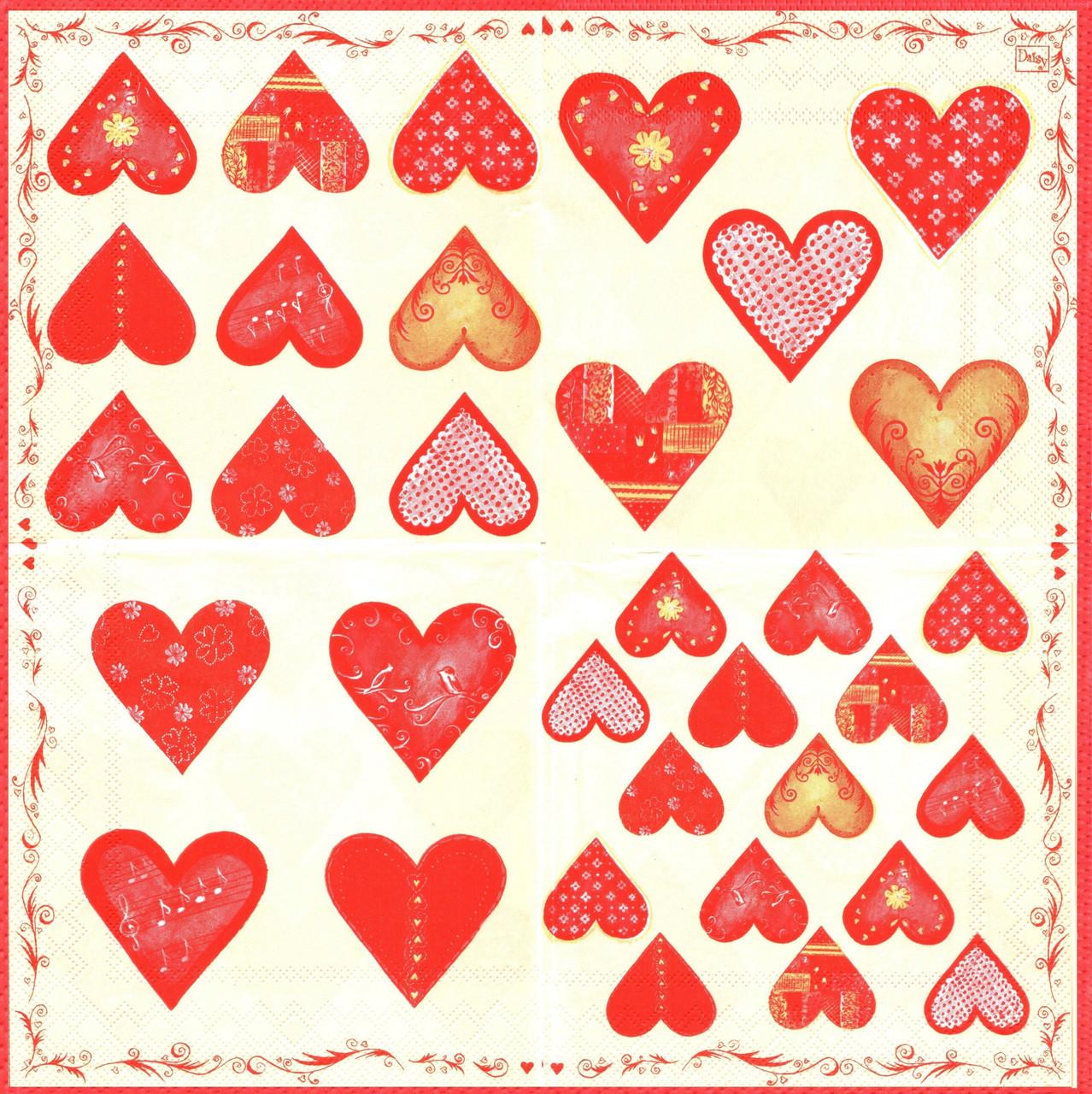 Салфетка декупажная Сердца 4327