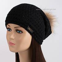 Теплая шапка-колпак Lola черного цвета