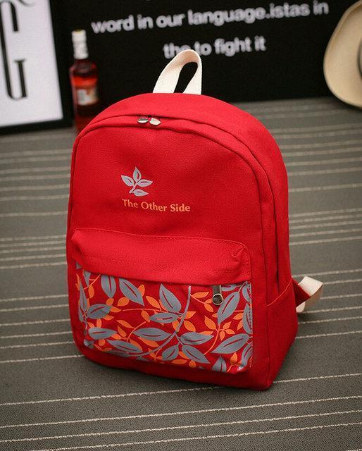 Рюкзак молодежный городской листья Красный
