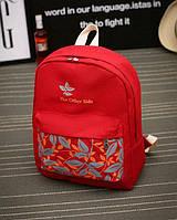 Рюкзак молодежный городской листья Красный, фото 1