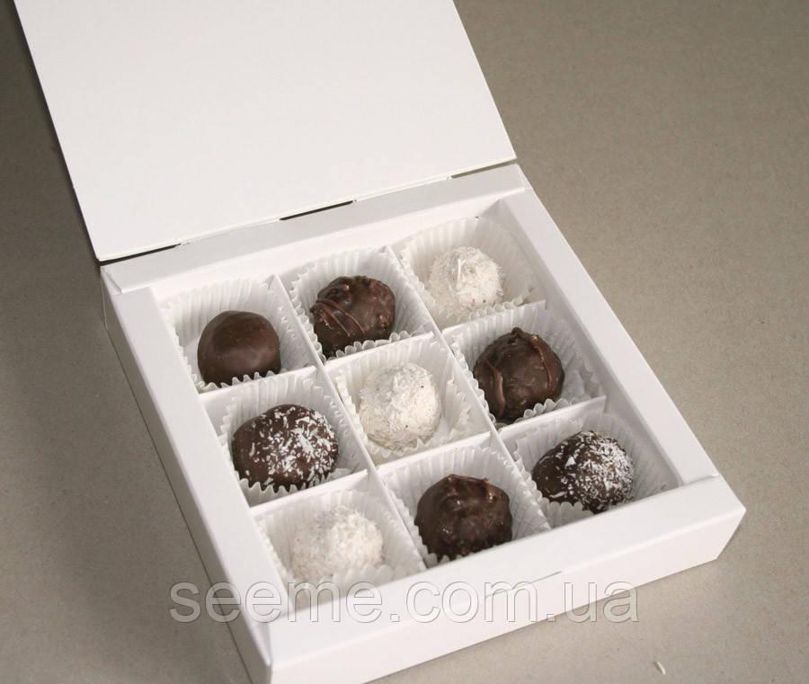Коробка подарункова для 9 цукерок 153х153х30 мм.