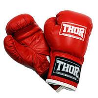 Перчатки боксерские Thor - JUNIOR 513 (кожа) красные, фото 1