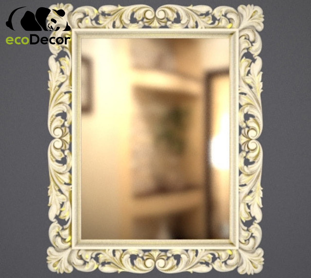 Зеркало настенное Milan в белой с золотом раме